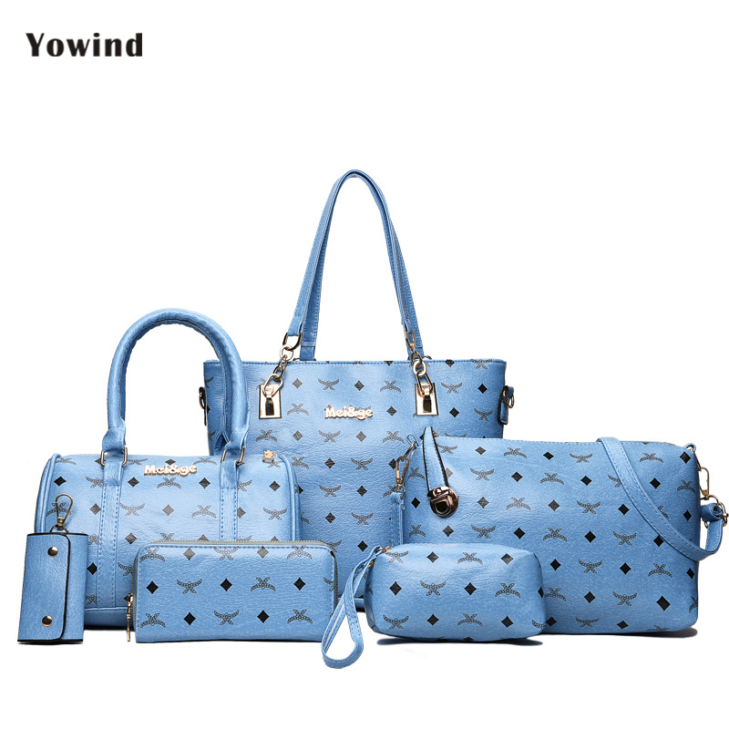 Women's Handbag High Quality Pu Leather Women Bags Handbags Women Famous Brands Big Casual Tote Bag Ladies Shoulder Bags 6 Set soar cowhide genuine leather bag designer handbags high quality women shoulder bags famous brands big size tote casual luxury