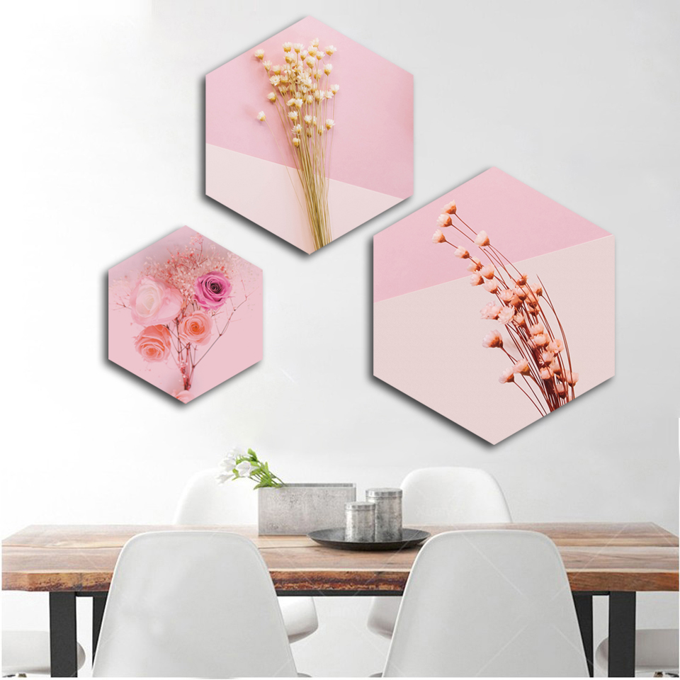 Canvas Painting Nordic Prints Romantic Aesthetic Pink Roses Poster Hexagon Modular Wall Art Fashion Wedding Home Decoration