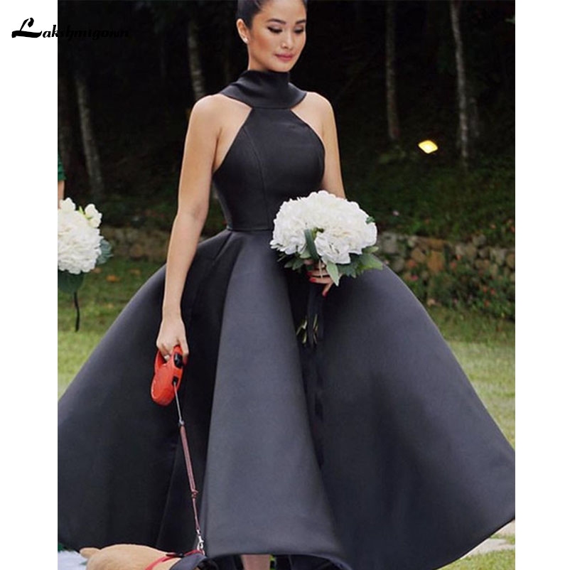 2018 New Design Black Bridesmaid Dresses Ball Gown Ankle Length Sleeveless Three Kinds Of Neck Wedding Guest Garden Gowns Custom