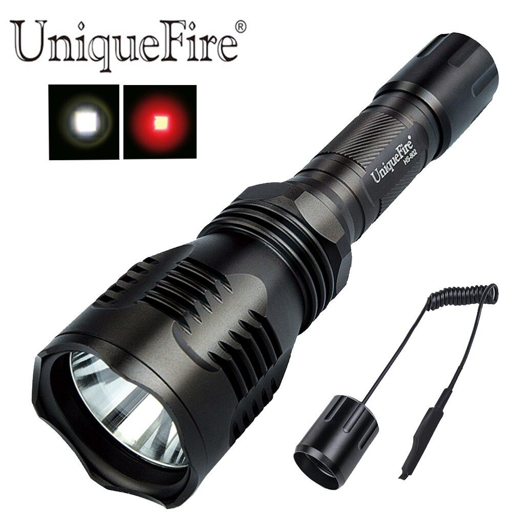 UniqueFire HS-802 XRE lentille en verre trempé blanc/rouge 300LM torche noire avec double télécommande de contrôle pour Camping de nuit