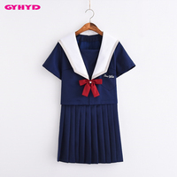 GYHYD Blue High End Japanese School Uniforms T shirt And Skirts Anime School Girl Uniform