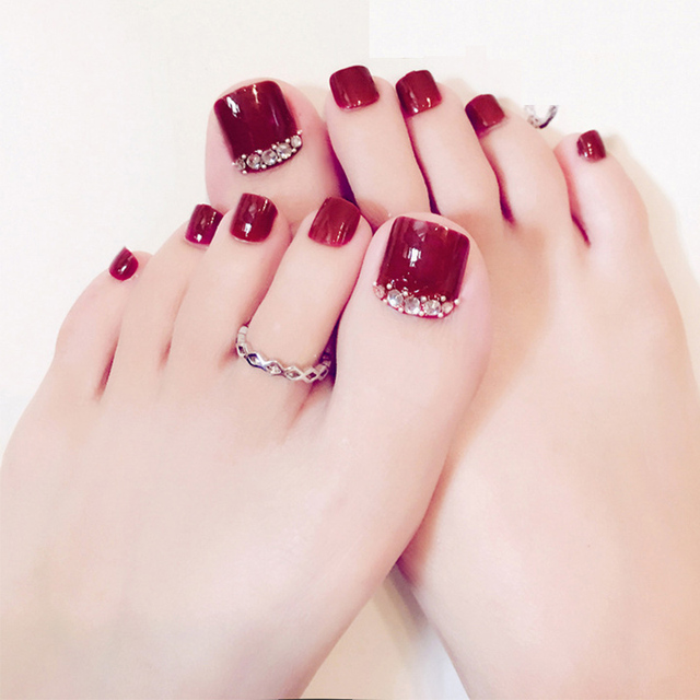 24pcs set pretty summer toes false nails rhinestone pre design full