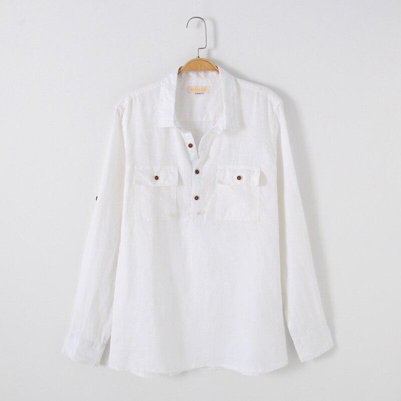 c9e7b175722 Весна и осень в итальянском стиле льняная рубашка Мужская модный бренд  белая рубашка мужские Длинные рукава