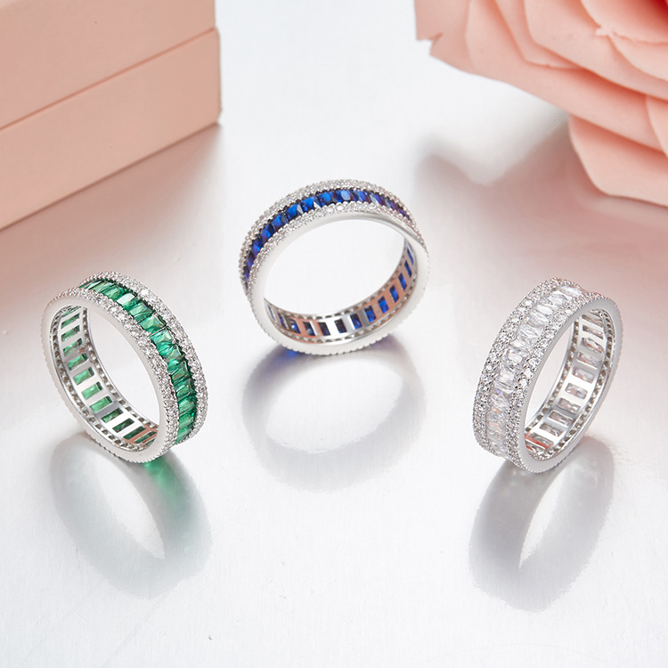 Famous S925 sterling silver Mirco Inlay Square Zircon Rings For men women Green White Blue Rhinestone engagement wedding ring