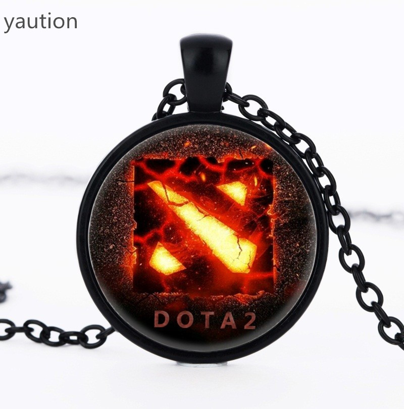 2017 New Dota 2 Glass Necklace Collares Glass game necklaces Statement Necklace Pendant For Men Women Gift