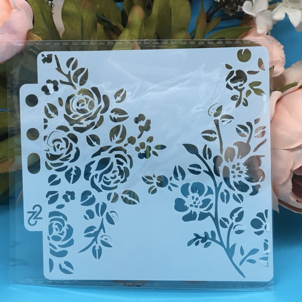 13cm New Rose Flower DIY Layering Stencils Wall Painting Scrapbook Coloring Embossing Album Decorative Card Template