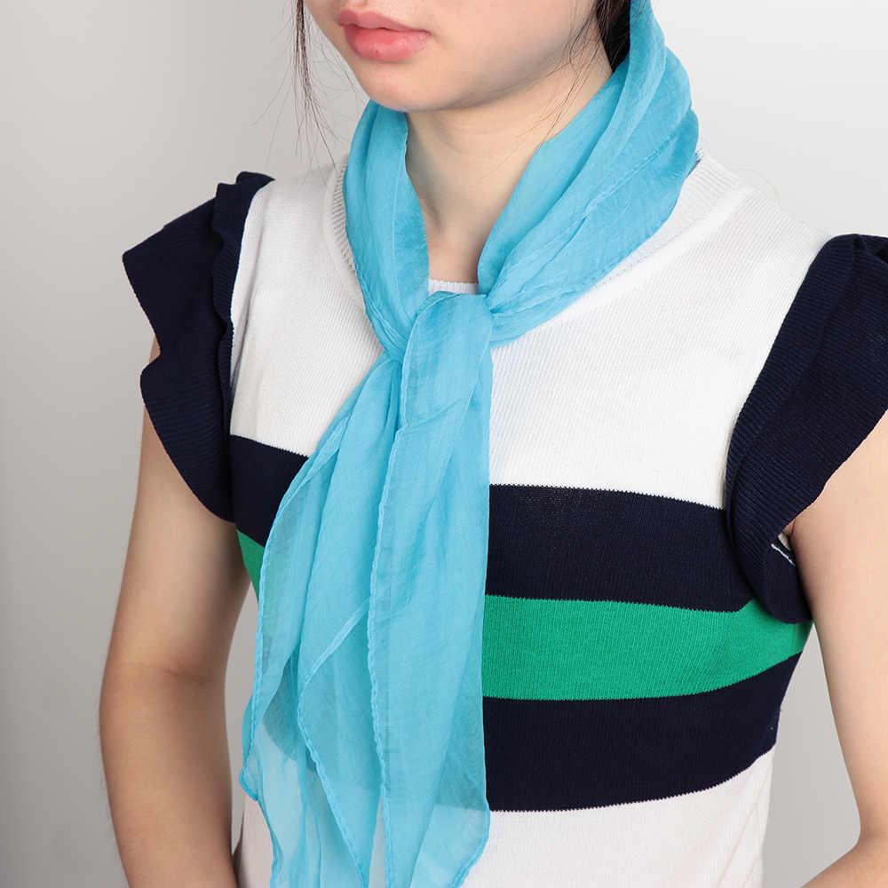 2019 Musim Semi Warna Solid Leher Hangat Sifon Silk Square Syal Wanita Gadis Lembut Selendang Selendang Syal Ikat Rambut Band Grosir