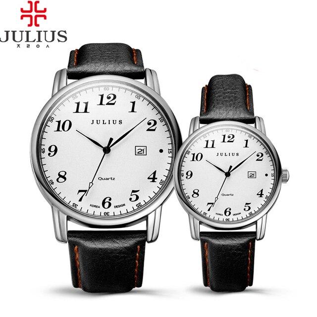 Top Julius Man Woman Couple Wrist Watch Big Fashion Hours Dress Bracelet Retro L