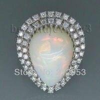 Vintage Pear 12x16mm Solid 18Kt White Gold Natural Opal Ring SR294B