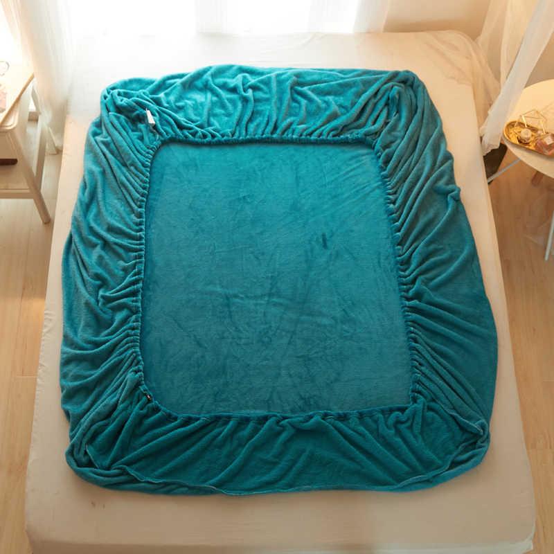 Темно зеленый цвет одноцветное 3 шт. простыня с наволочка постельное белье матрас Чехлы для мангала комплекты с наматрасником на резинке эластичными постельные принадлежности
