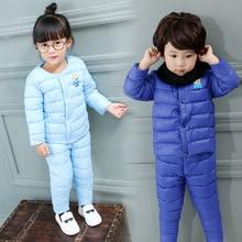 Высокое качество девочка Мальчик зима пуховик наборы Теплая верхняя одежда наборы 2 шт теплый одежда Износ Дома