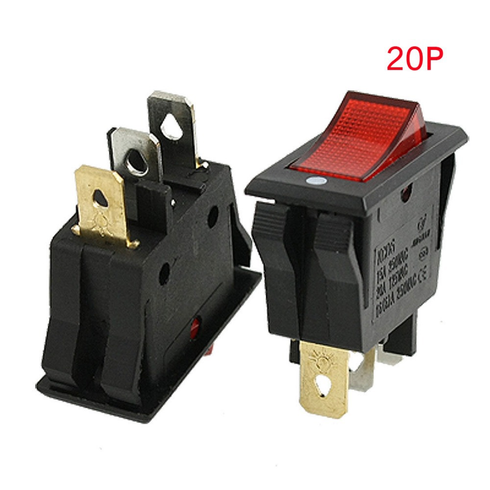 5x Red AC15A/250V 20A/125V ON-OFF 2 Position SPST Boat Rocker Switch 3 pins VE138 P0.5 mylb 10pcsx ac 3a 250v 6a 125v on off i o spst 2 pin snap in round boat rocker switch