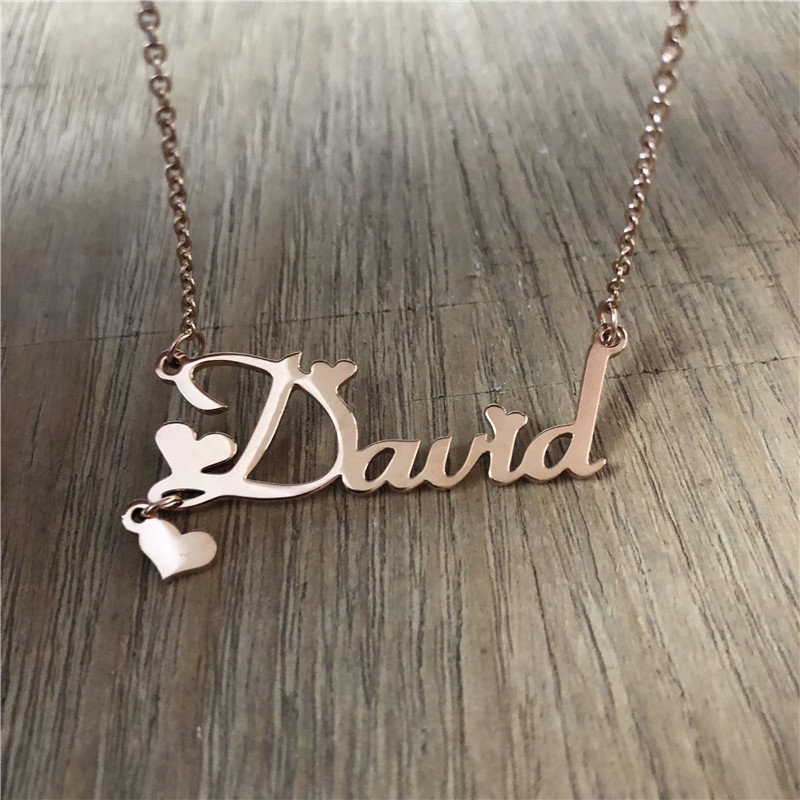 Heart Pendant Name Necklaces & Pendants Stainless Steel Personalized Custom Choker Necklaces For Gift Nameplate Pendant Jewelry
