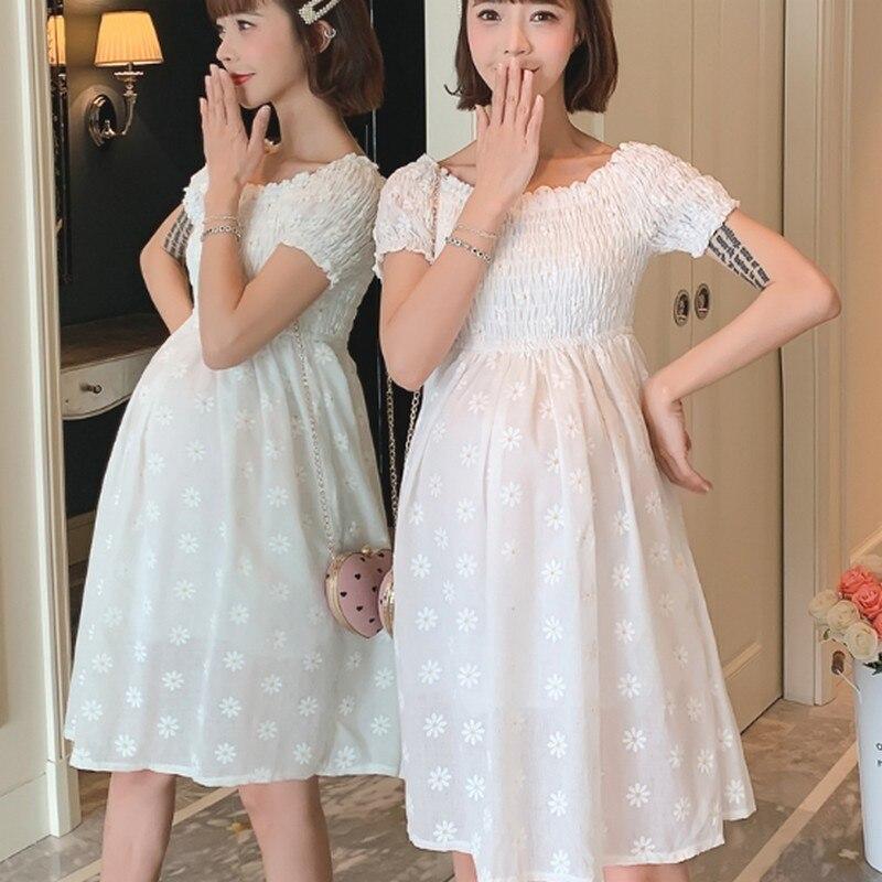 Летний корейский белый эластичный Shoulderess ТРАПЕЦИЕВИДНОЕ платье для беременных свободные эластичный короткий рукав печати плиссированные ...