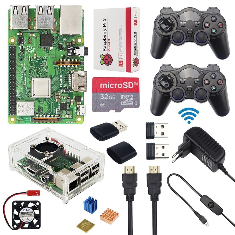 Raspberry Pi 3 Modèle B + (Plus) jeu Kit + Sans Fil Gamepads + 32 gb SD Carte + 3A Puissance Adaptateur + HDMI + Acrylc Cas pour retroPie