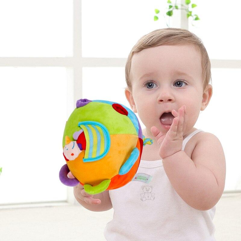 Горячая Детские разноцветные кольца Bell погремушка мяч плюшевые детские игрушки ткань музыки смысле Обучающие игрушки мяч плюшевые рука по... ...