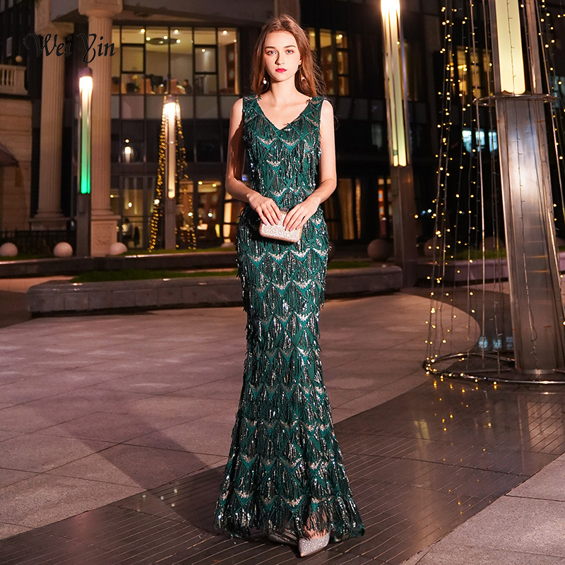 weiyin Green Tasse   Evening     Dresses   Long Mermaid V-Neck Formal   Dress   Sequined Abendkleider Women robe de soiree longue WY1373