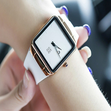 GUOU clock Model Ladies's watches Luxurious Rose Gold Vintage clock Sq. Informal Leather-based Gown girls watches relogio