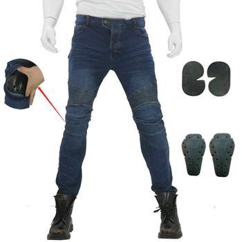 2019 nouveau pantalon d'équitation de moto Denim Jeans avec 4 X genouillères protections de hanche pour hommes femmes Biker pantalons de protection plafones bleu