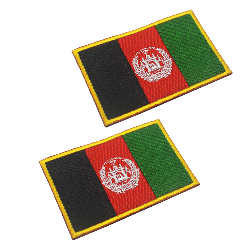 Afghan <font><b>Afghanistan</b></font> National Flag Embroidery Patch Embroidered Patches Military Tactical Shoulder Armband Fabric Stickers image