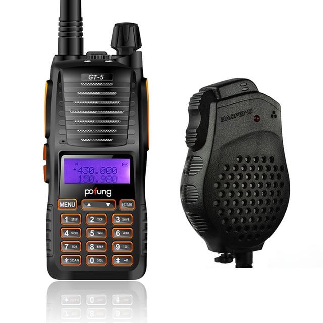 Baofeng GT-5 VHF/UHF 136-174/400-520 MHz Dual Band FM Ham Two-way Radio Ham Walkie Talkie + Dual PTT Speaker gt-5