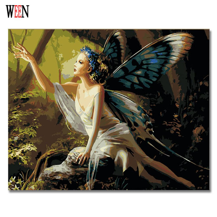 Girl Angel Butterfly Painting By Numbers Diy Handpainted