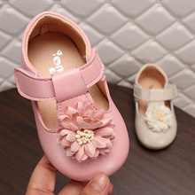 Kids Sping Fashion T-Strap Flat Shoes For Girls Princess Flower Casual Shoes Children Baby Hook & Loop Soft Shoes Size 21-25 girls leather shoes 2019 spring autumn children flat with princess shoes pu baby girls hook loop antiskid soft bottom shoes 242