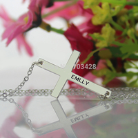 Girls Cross Name Necklace Charm Cross Necklaces Personalized Sterling Silver Name Necklaces Cross Jewelry