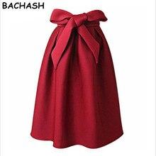 Bachash элегантный Винтаж Для женщин юбка Высокая Талия плиссе длиной макси юбка миди линии большой бант красные, черные боковой молнией приталенное Юбки