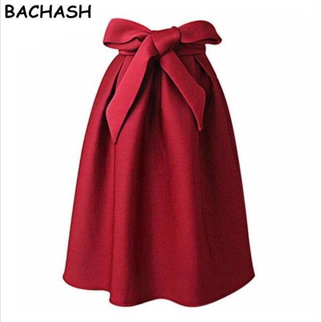 8beba402a BACHASH Elegant Vintage Women Skirt High Waist Pleated Long Maxi Midi Skirt  A Line Big Bow Red Black Side Zipper Skater Skirts