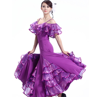 Hot Double shoulder Ballroom Competition Dance Dress Luxury Organza Fluncy Layered Stage Dancing Dresses For Women MQ209