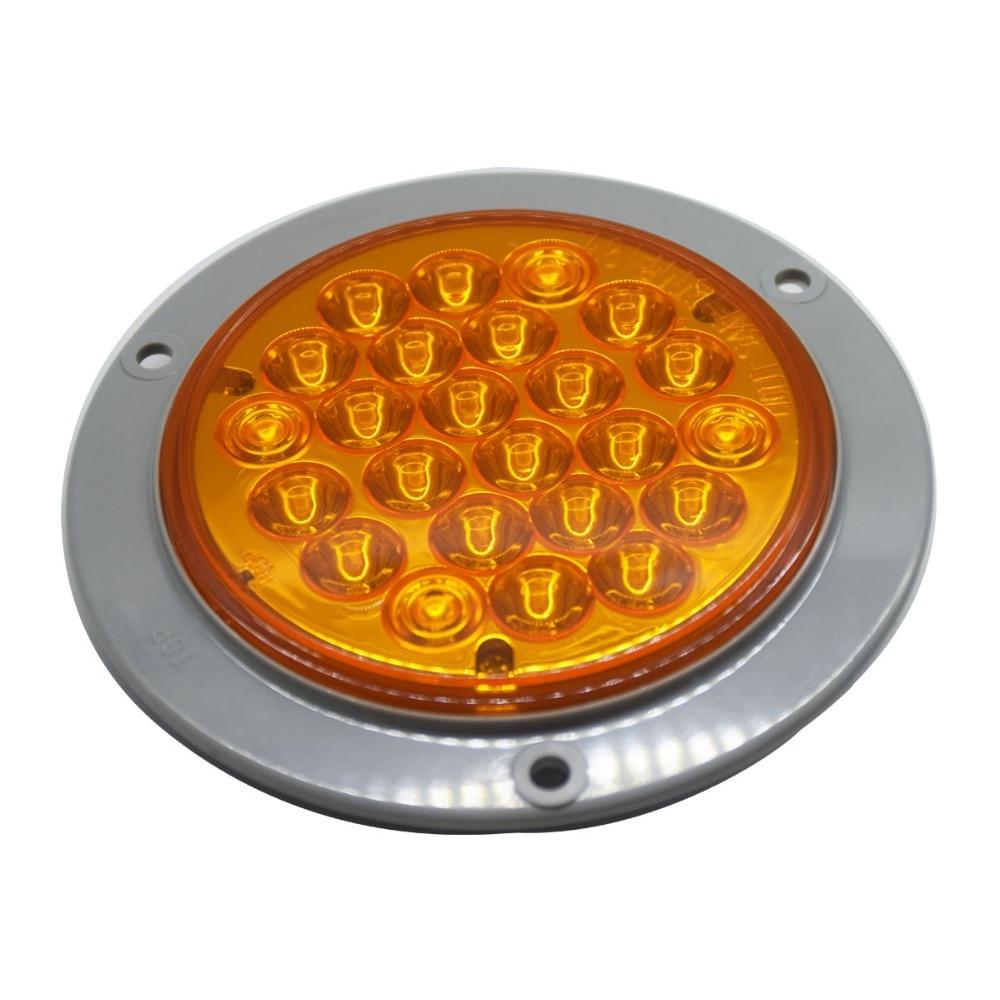 4 Inch 12V/24V 24 <font><b>Led</b></font> Super Bright Truck Rear Turning Lights Sealed <font><b>Signal</b></font> Lights Amber Indicating Lights with Bracket ECE DOT
