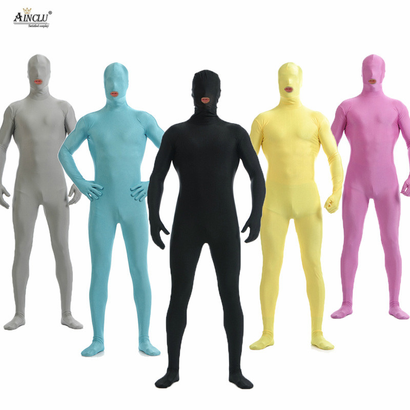 Ainclu Men Spandex Nylon Lycra Black Full Body Second Skin Tight Color Custom Skin Suit Open Mouth Cosplay Costume Zentai