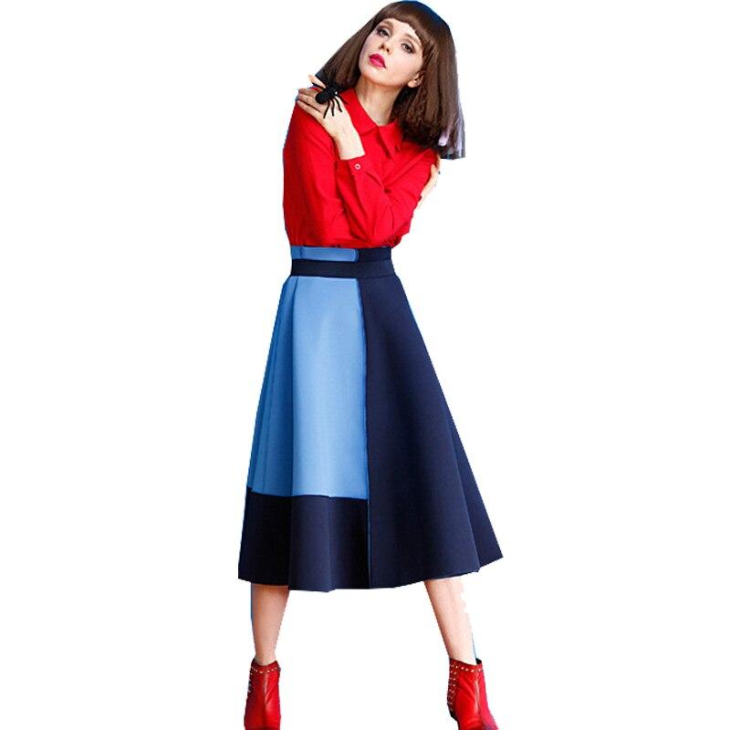 スペース綿ファッションミディロングaラインスカート用女性カジュアル冬春パッチワーク色