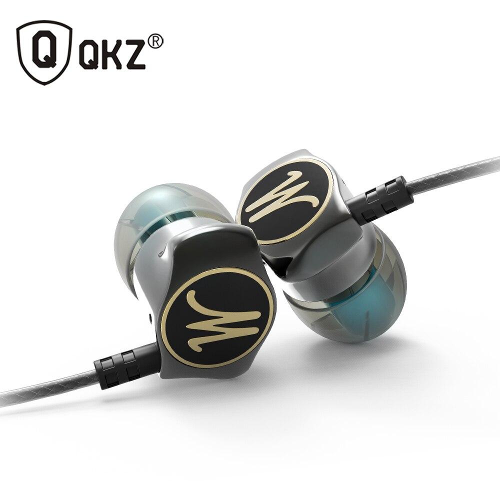Auriculares en los auriculares del oído HiFi teléfono del oído metálico auriculares estéreo en el oído auricular qkz X10 zinc aleación Cancelación de ruido auriculares DJ