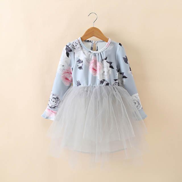 771293617ba2e placeholder Little Baby Girl Winter Dress Children's Girls Dresses 8 Years  Flower Print Tutu Birthday Dress For