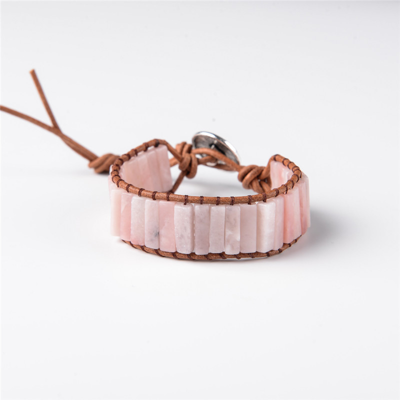 Pink Opal Stone Tube Beads...