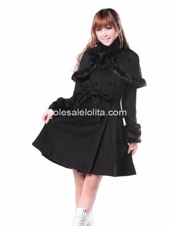 Дешевые милые черные Шерсть Сладкий зимнее пальто Лолита пальто готическая лолита Шерстяное пальто