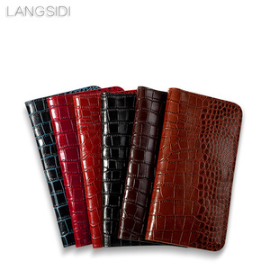 Image 5 - wangcangli genuine calf leather phone case crocodile texture flip multi function phone bag for Huawei Honor V9play hand made
