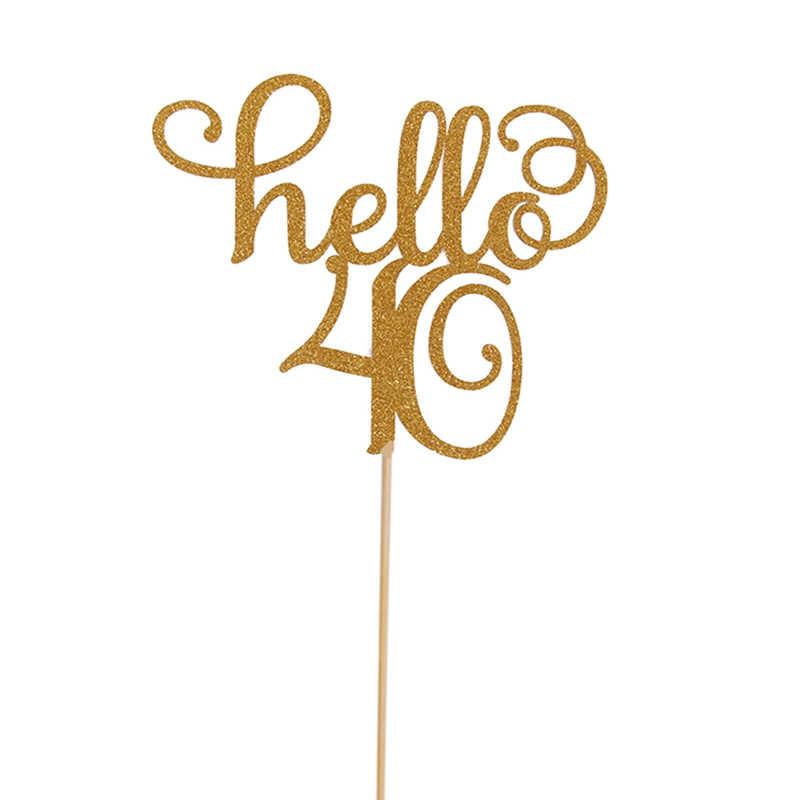 1 ピース/セットケーキトッパーは誕生日トッパーウェディングパーティーケーキデコレーション用品ゴールドグリッターハロー 30,21 、 40,50 、 60