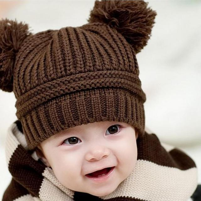 newborn baby photography props Cute Baby Kids Girl Boy Dual Balls Warm  Winter Knitted Cap Hat baby bonnet kids hat topi bayi d0c9d9e1bd9f