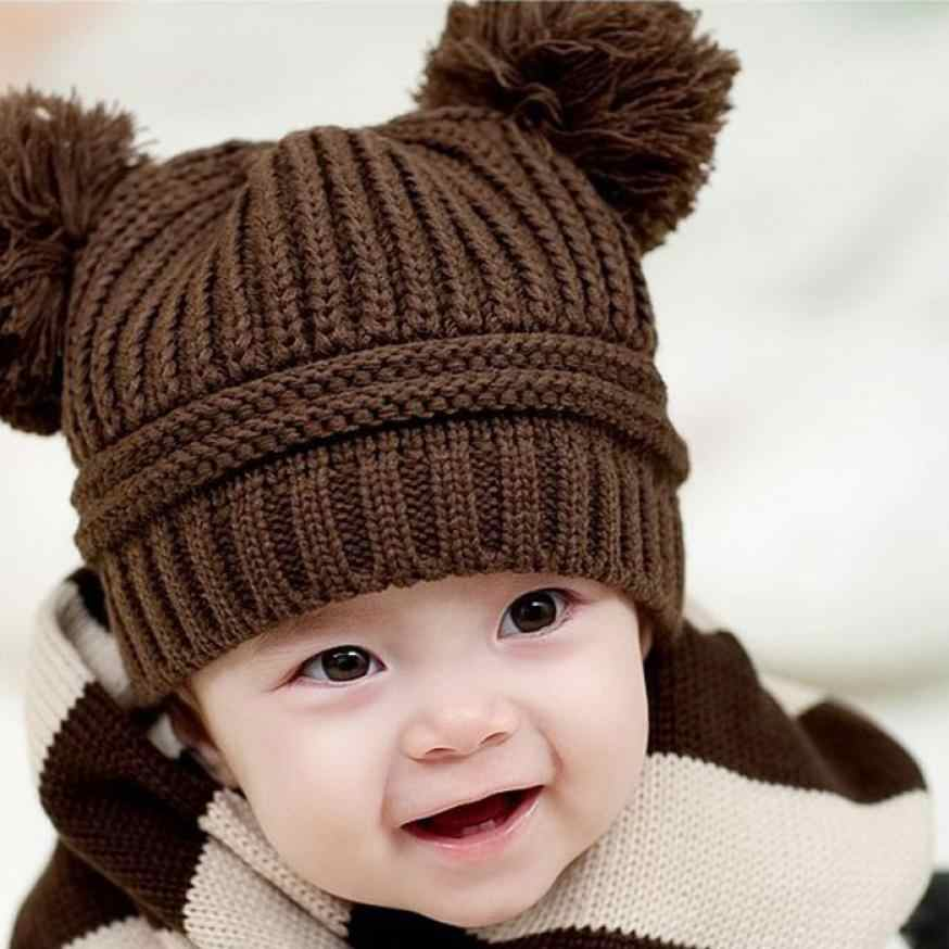 d2243929ff167 newborn baby photography props Cute Baby Kids Girl Boy Dual Balls Warm  Winter Knitted Cap Hat