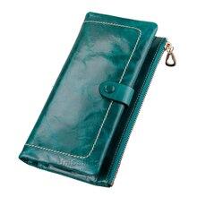 Fashion brand women wallets Korean style solid color Top grade genuine leather zipper hasp long wallet Oil Wax Cowhide Purse