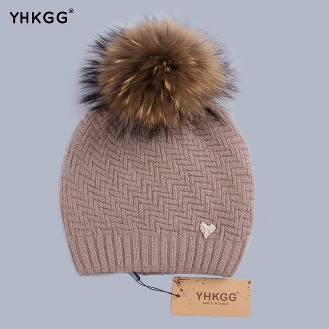 YHKGG Geometric Skullies Beanies Mink and Fox Fur Winter Hats Women's Wear Hats Wool Knitted Hat Girl Thick Cap Female H004