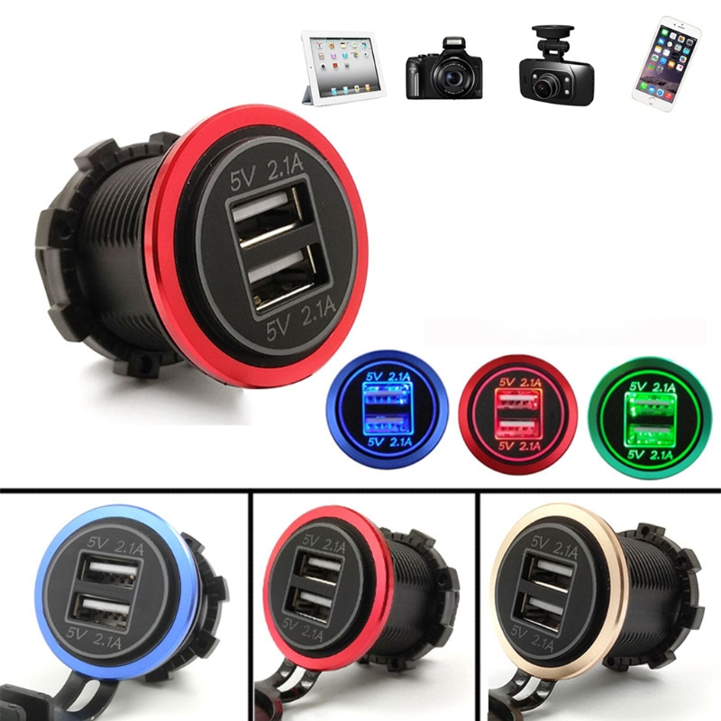 DC 12V 24V 4.2A Motorcycle Boat Car Dual USB Charger For Mobile