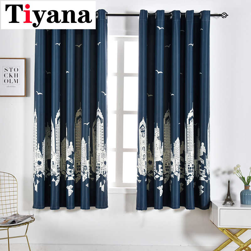 Tiyana Mediterranean Castle Short Kids Study Room Curtains Thermal Insulated Light Blocking Curtains for Living Room P254X