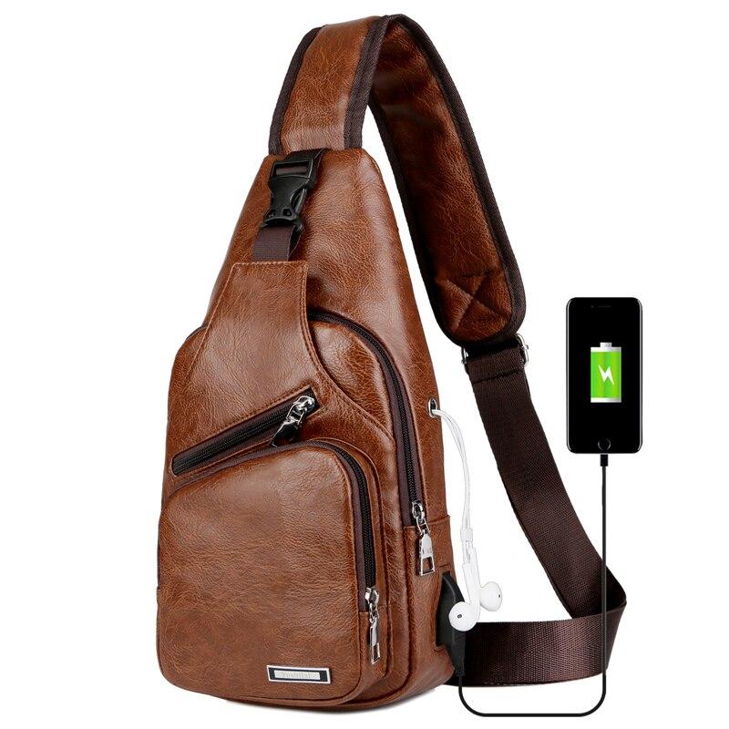 Diagonal Package Men's Crossbody Bags Men's USB Chest Bag Designer Messenger Bag Leather Shoulder Bags Back Pack Travel