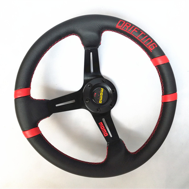 14-inch MOMO leather aluminum frame racing steering wheel fit for BMW M/// X1X2X3X4X5X6X7 AUDI Q1Q2Q3Q4Q5Q6 A1A2A3A4A5A6