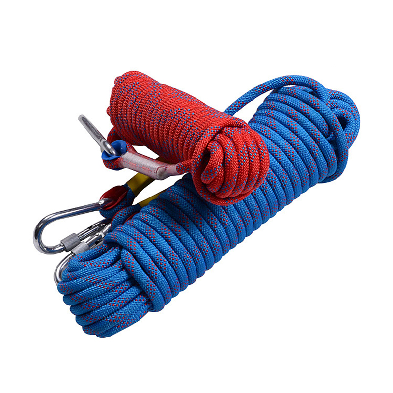 Climbing Rope, 10mm, Tree Wall Climbing, Survival Fire Escape Safety Rope Carabiner 13