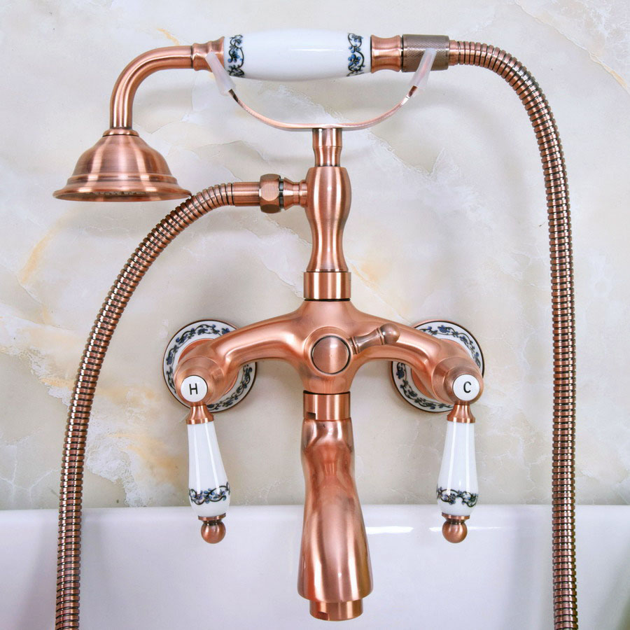 Antique Red Copper Brass Double Ceramic Handles Wall Mounted Bathroom Clawfoot Bathtub Tub Faucet Mixer Tap w/Hand Shower ana315Antique Red Copper Brass Double Ceramic Handles Wall Mounted Bathroom Clawfoot Bathtub Tub Faucet Mixer Tap w/Hand Shower ana315